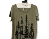 Large -  Tri-Blend Olive Dolman Tee with Evergreen Trees Screen Print-