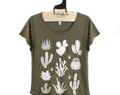 SALE XL -  Tri-Blend Olive Dolman Tee with Cactus Screen Print-