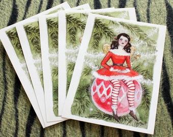 Bauble faerie Christmas card