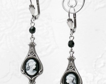 White Black VICTORIAN CAMEO EARRINGS Gothic Dangle Drop Antiqued Silver E36