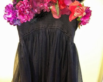 Dark Flowered Black Costume Dress - Medium to Large - stretchy knit and netting