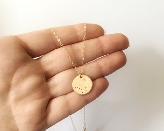Dig Dipper Necklace, North Star, Alaska Necklace, Alaskan Flag, Gold Constellation Necklace, Pole Star, Best Friend Gift, Long Distance Gift