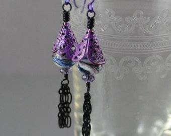 Hand-painted Violet Purple Patina Blue White Purple Swirl Crystal Black Enameled Chain Tassel Earrings