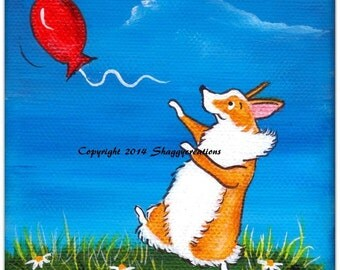 Pembroke Welsh Corgi Dog Art Painting ~ Corgi Art ~ Dog Lover Gift ~The Red Balloon  Dog Painting Pet Lovers Decor Valentines Day Corgi Art