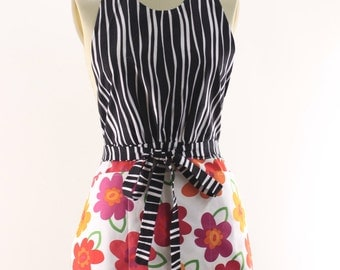 Fun Household Apron in tiger print and orange flowers