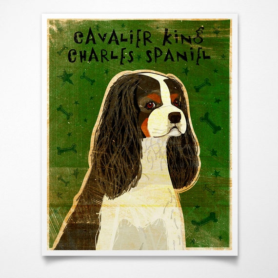 """Coworker Gift- Tri-Color Cavalier King Charles Spaniel Print 8""""x10""""- Dog Print- Cavalier King Charles Spaniel Gifts- Gifts for Wife- Gifts"""
