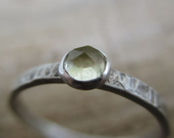 Sterling and yellow lemon quartz ring - Rustic and Lemon Sparkles - Rose cut stone
