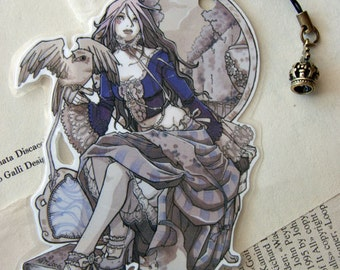 Bookmark - Laminated - Charm - Gothic - Owl - Victorian - Czarina Queen