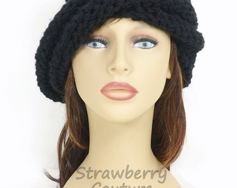 Black Knit Hat Womens Hat, Womens Knitted Hat, Black Hat, Oversized Hat, Knitted Hat Women, OMBRETTA Oversized Knitting Beanie Hat