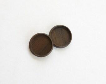 """USA made artisanal hardwood bezels - Walnut - 1"""" - 25.5 mm cavity - (Z25c-W) - Set of 2"""