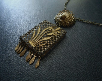 rhapsode - antique repurposed victorian vinaigrette filigree locket boho fringe necklace