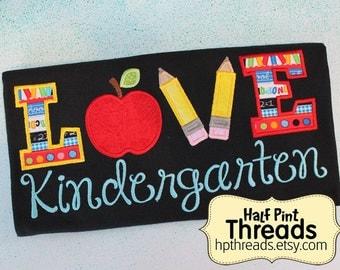 READY TO SHIP Love Kindergarten Embroidered/ Applique Teacher Shirt, Teacher Gift, Educator Gift Size Large