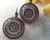 Small Mandala leverback earrings - bronze *Free Shipping*