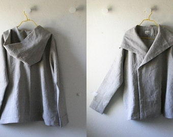 HOODED LINEN JACKET - gretel / natural / linen coat / women / autumn / spring / made in australia / eco / handmade / organic / pamelatang