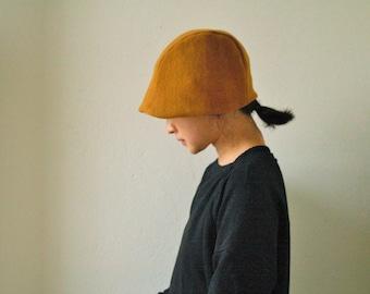 WOMEN'S WOOL HAT / modern / beanie / cloche / reversible / linen hat / autumn / winter / australia / eco friendly / handmade / pamelatang