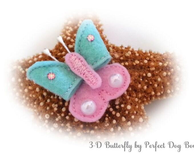 Butterfly Dog Bow, Felt Butterfly, Dog Bow Butterfly, Butterfly Puppy Bow, Pink Butterfly, Aqua Butterfly