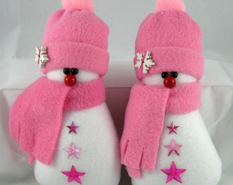Christmas Decoration, Snowman Ornaments, Set of 2, Christmas Ornaments Handmade Decorative Stuffed Snowman in Rosy Pink Fleece