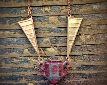 Winged Goblet Victory Cup Necklace, OOAK, We Are The Champions