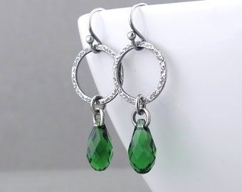 Simple Green Earrings Rustic Jewelry Silver Dangle Earrings Green Crystal Earrings Silver Hoop Earrings Hammered Silver Jewelry - Annabelle