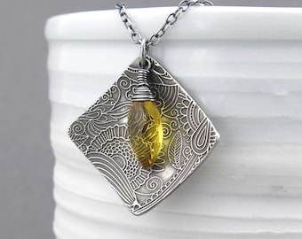 Citrine Necklace Sterling Silver Necklace Pendant Gemstone Necklace Bohemian Jewelry Unique Handmade Jewelry Gift for Her - Contrast