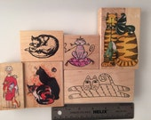 DESTASH 6 Cute Cats Artsy Rubber Stamp lot, Artful Stamper, Inkadinkado, Steinlen, All Night Media, Rubberbaby Buggy Bumpers