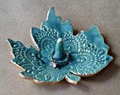 Ceramic Leaf  Ring Holder bowl malachite Green with gold edging