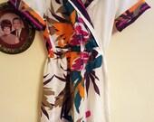 Vintage Tropical Faux Wrap Dress M