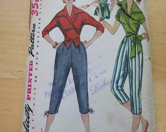 Vintage 50s Simplicity 4255 Misses Wrap Around Blouse and Pedal Pushers Capris Sewing Pattern size 12 B 30