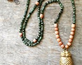 Antiqued Brass Pineapple Locket, Malachite colored Vintage Czech Glass and Vintage Philippine Rosewood Beaded Necklace