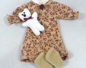 Toy Doll Outfit: Nightgown, Teddy Bear, Slippers