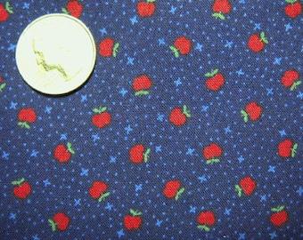 LITTLE RED APPLES Fabric ~ Mini Apple on Navy Blue Fat Quarter Plus