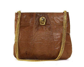 70s Ruth Saltz Snakeskin Purse with Gold Chain & Gold Panther Head / Vintage 1970s Brown Exotic Leather Handbag