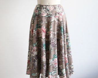 Vintage Floral Print Knit Full Skirt