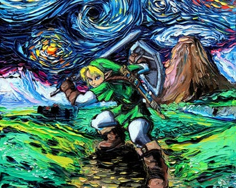 Starry Night Legend of Zelda CANVAS Art - Link Art print van Gogh Never Saw Hyrule Aja 8x8, 10x10, 12x12, 16x16, 20x20, 24x24, 30x30 choose