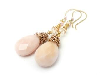 Opal Earrings, Gold Tone Earrings, Pink Earrings, Peruvian Opals, Wedding Jewelry, Bridal Accessories, Bridal Earrings, By Durango Rose