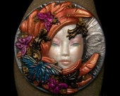 Butterfly Angel Fairy Face Cabochon OOAK Cameo Handmade Polymer Clay beading cabochon