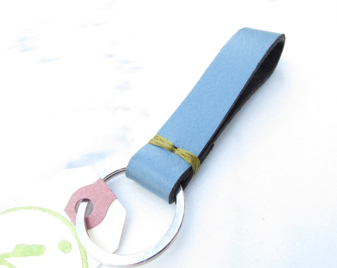 Clearance Sale: **READY TO SHIP** Carolina Blue Stitch Upycled Leather Keychain