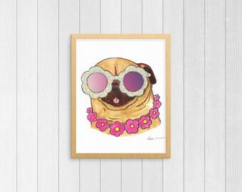 Funny Animals, Island Decor, Pug Drawing, Pug Watercolor, Pug Art, Pug Items, Pug Print, Pug Love, Pug Life, Pug Gift,Pug Lover,Pug Wall Art