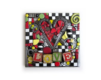 LOVE. (Handmade Mixed Media Mosaic Assemblage Art by Shawn DuBois)