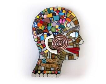 Know Thyself. (Original Handmade Mixed Media Mosaic Wall Hanging by Shawn DuBois)
