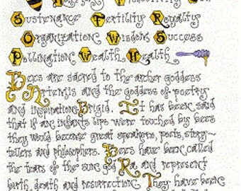 Wicca Grimoire The Bee  Book of Shadows Grimoire Exclusive Collectible Parchment Art Print DIGITAL DOWNLOAD Direct From Artist