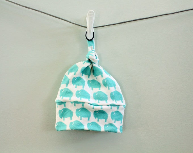 baby hat hipster turquoise bison buffalo Organic knot modern newborn shower gift photography prop hospital outfit accessory neutral girl boy