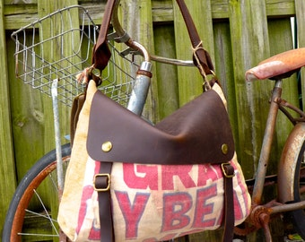 SALE Soy Bean Feed Meal Sack - Leather Satchel Bag - Americana Leather Canvas & Leather Bag... Selina Vaughans