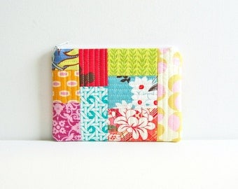 Zipper Pouch, Quilted Patchwork, Cosmetic Case, Makeup Bag, Women and Teens, Gift For Her