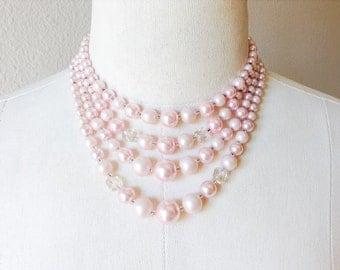 Vintage Multistrand Beaded Powder Pink Necklace, Vintage Marked Japan Jewelry, Vintage Pink Jewelry Necklace