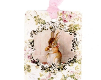 Beatrix Potter Gift Tags , Rabbit Tags , Shabby and chic , Pink and Green , Pink Roses , Baby Gift Tags , Shower Tags , Birthday Tags