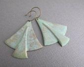 Brass Patina Shield Earrings, Art Deco Earrings, Nickel Free Brass Jewelry