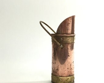 Copper and Brass Matchstick Holder ~ Long Matchstick Holder ~ Copper and Brass Scoop ~ Antique Matchstick Holder