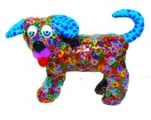 Dog sculpture, dog art, puppy,dog decor, dog collectible, dog figure,little puppy, colorful dog, dog decoration,dog lover