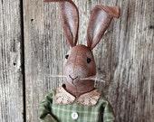 Primitive Rabbit Doll, Easter Home Decor, Standing Doll, Soft Sculpture Doll, Handmade Rabbit